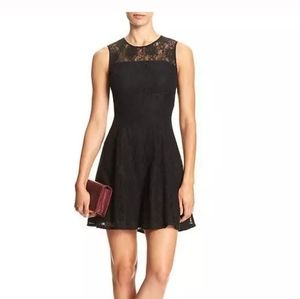 Banana republic fit and flare black lace dress